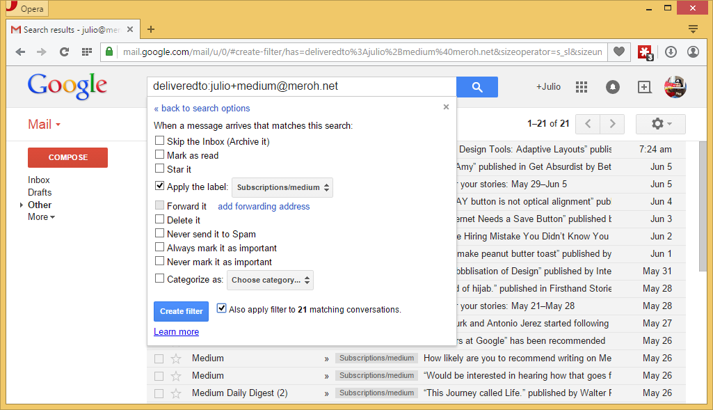 Defining a deliveredto: based filter in GMail