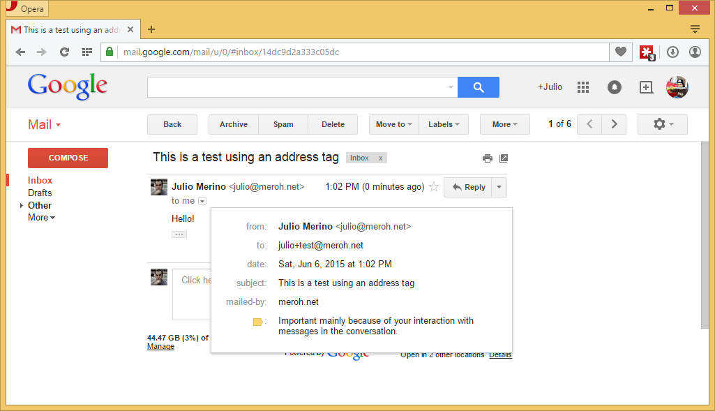 GMail plus addressing in action